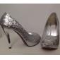 Dame Bryllup sko Hæler/Åpen tå høye hæler Bryllup Svart/Sølv/Gull