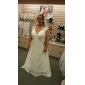 Lanting Bride® A-line Plus Size / Petite Mother of the Bride Dress Floor-length Sleeveless Chiffon with Beading / Draping / Criss Cross