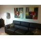 pinturas al óleo juego de 2 modernos bloques de color abstracto lienzo pintados a mano listos para colgar