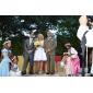 Ball Gown Plus Sizes Wedding Dress - Ivory Knee-length V-neck Tulle