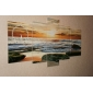 Modern Seascape Wall Clock in Canvas Set of 5