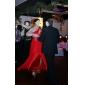 Fiesta formal/Fiesta de baile/Baile Militar Vestido - Rojo Corte Recto Hasta el Suelo - Solo Hombro Gasa Tallas grandes