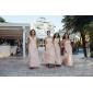 Lanting Bride Floor-length Chiffon Bridesmaid Dress Sheath / Column Jewel Plus Size / Petite with Sash / Ribbon / Ruching / Pleats