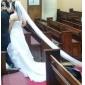 Robe de Mariée en Organza, Sans Bretelles, Coupe Princesse et Traîne Tirbunal