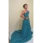 A-Lijn/Prinses - Formele Avond/Military Ball Jurk -met Blauw Een schouder Sweep / Brush Sleep Doek Grote Maten