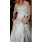 A-line/Princess Plus Sizes Wedding Dress - Ivory Court Train Scalloped-Edge Satin