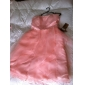 Homecoming Knee-length Satin/Organza Bridesmaid Dress - Pearl Pink Plus Sizes A-line Strapless