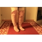 Women's Shoes Suede Covered Low Heel Elevator Over Knee Boots With Cutout Embellishment More Color Available