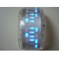 Couple's Watch Futuristic Blue LED Digital Bracelet (Black & White, 1-Pair)