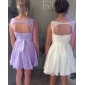 Homecoming Bridesmaid Dress Knee Length Lace A Line Scoop Dresses