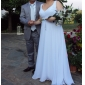 Bridesmaid Dress Floor Length Chiffon A Line V Neck Dress (96011)