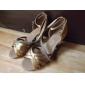 Chaussures de danse(Noir Marron Argent Or Léopard) -Personnalisables-Talon Personnalisé-Satin-Latine Salon