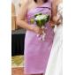 신부 들러리 드레스 - 골드 A라인/프린세스 무릎길이 원 숄더 사틴 플러스 사이즈