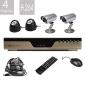 Conjunto de 4 Câmeras de Segurança com Visão Noturna, 4 Canais, H.264, Kit DVD, Super Barato