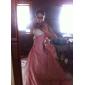 Vestido de Noiva - Marfim Baile Sem Alças Cauda Capela Organza/Tafetá Tamanhos Grandes
