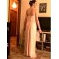 Lanting Bride® Lungo Chiffon Vestito da damigella A tubino Senza spalline Taglia forte / Minuta con A pieghe