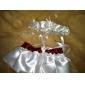 2-delt satin med bånd bryllup strømpeholdere