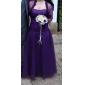 신부 어머니 드레스 - 그레이프 A라인 3/4 길이 소매 바닥 길이 명주그물 플러스 사이즈