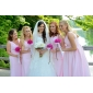 Bridesmaid Dress Floor-length Chiffon Sheath Column V-neck Dress With Criss Cross