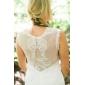 Lanting Sheath/Column Plus Sizes Wedding Dress - Ivory Floor-length V-neck Tulle/Lace