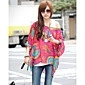 Women's Chiffon Oversize One Shoulder Print Blouse