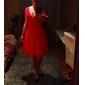 Knelang festkjole i chiffon med A-linje og V-hals