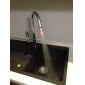 Single Handle Solid Brass Pull-Out Kitchen Faucet with Color Changing LED Light