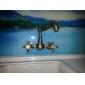 Antique Brass Finish Bathroom Sink Faucet (Tall)