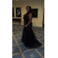 Formal Evening Dress - Black Plus Sizes Trumpet/Mermaid One Shoulder Sweep/Brush Train Tulle