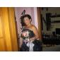 Bridesmaid Dress Floor Length Taffeta A Line Strapless Dress With Pick Up Skirt