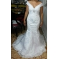 Trumpet/Mermaid Plus Sizes Wedding Dress - Ivory Chapel Train Off-the-shoulder Organza