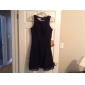 A-line Plus Sizes Mother of the Bride Dress - Black Knee-length 3/4 Length Sleeve Chiffon