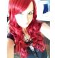 Perruques de lolita Gothique Lolita Long Rouge Perruques de Lolita 65 CM Perruques de Cosplay Couleur Pleine Perruque Pour Femme