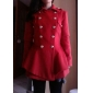 Women's Coat,Solid Long Sleeve Winter Blue / Red / Black Acrylic Thick