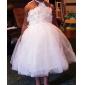 A-line / Ball Gown / Princess Tea-length Flower Girl Dress - Satin / Tulle Sleeveless Halter with Flower(s) / Sash / Ribbon