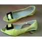 Konstläder låg klack öppen tå skor med rosett (fler färger)