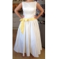Ball Gown Plus Sizes Wedding Dress - Ivory Tea-length Bateau Satin