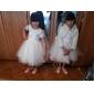 A-line/Princess Knee-length Flower Girl Dress - Tulle Short Sleeve