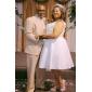 Vestido de Boda - Marfil Corte en A/Corte Princesa Hasta la Rodilla - Escote en V Tafetán Tallas Grandes