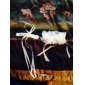 2-delt satin med blomster bryllup strømpeholdere