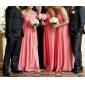 신부 들러리 드레스 - 워터멜론 시스/컬럼 바닥 길이 스트랩 없음/스위트하트 쉬폰 플러스 사이즈