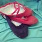 Chaussures de danse(Noir Rose Rouge) -Non Personnalisables-Talon Plat-Tissu-Ballet