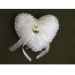 Wedding Ring Pillow in Smooth Satin With Lovely Flowers and Pearls