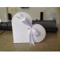 Inima de design cutie alba favoare cu Ribbon Bowknot (set de 12)