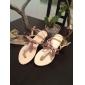 damskor platt häl t-rem sandaler med guld fluga skor (fler färger)