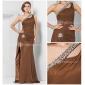Formal Evening/Military Ball Dress - Brown Plus Sizes Sheath/Column One Shoulder Floor-length Chiffon