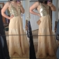 Homecoming Formal Evening/Military Ball Dress - Champagne Plus Sizes A-line Spaghetti Straps Floor-length Organza/Lace