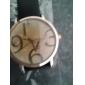 Unisex Analog  Quartz Armbåndsur med store numre og PU Læder Rem (Assorterede Farver)