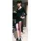 vrouwen solide bodycon hoge dij split maxi jurk