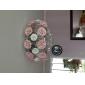 idílico moderno cristal 5 pingente luz decorado com flor rosa